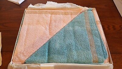 VINTAGE CALLAWAY Pink & Turquoise TOWEL SET IN BOX 2 EACH BATH HAND & WASH