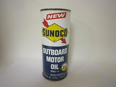 Vintage Sunoco Outboard Motor Oil 1 Pt NOS Full Sealed Can