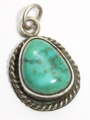 Vintage Navajo SIGNED Sterling Silver Spiderweb Green Turquoise Drop Pendant
