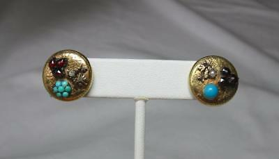 Victorian Earrings Persian Turquoise Garnet Pearl 15K Gold c1880 Thistle Flower