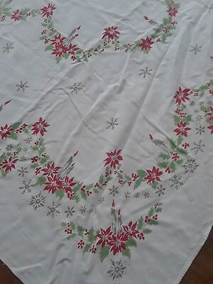 Vintage Christmas Poinsettia and Candle Tablecloth