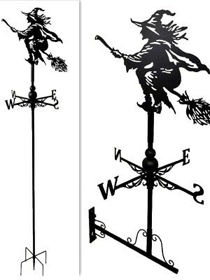 Floor standing and wall mounted Weathervanes Steel witch on broom Weathervane