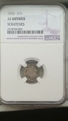 1860 3 Cent Coin Graded XF Details Certified by NGC  3c