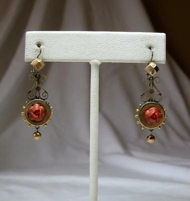 Coral Rose Earrings Victorian 10K Gold Antique Wedding Engagement Art Deco
