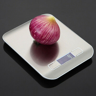 New Digital Weighing Kitchen Scale 5Kg LCD Electronic Glass Cooking Food USA