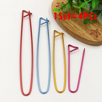 BL_ 4 Sizes Aluminum Knitting Crochet Locking Stitch Marker Needle Clip Holder B