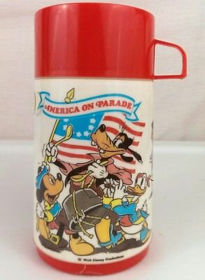 1976 Aladdin Walt Disney America On Parade Thermos Bottle Thermo Mickey Pluto