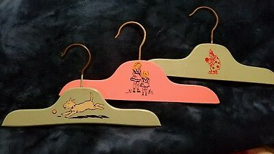 Vintage * 3 Wooden Childs' Clothing  Hangers * Pink Girls & Blue Dog & Clown *