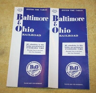 Vintage 1957 B & O Railroad - Railroad Timetable, Baltimore & Ohio