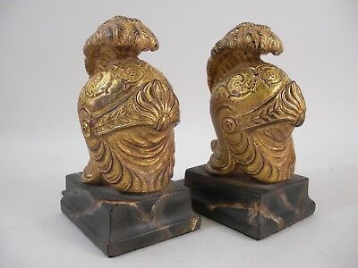 Pr Helmet Bookends Gold Gilt Marbleized French Italy Medici Grand Tour Style