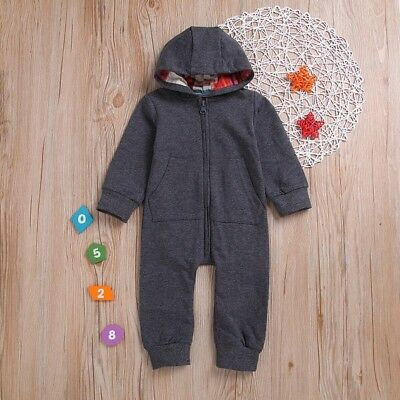 Newborn Babies Baby Boy Hooded One Piece Outfit Jumpsuit Romper Clothes