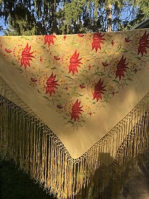Antique Silk Embroidered Piano Scarf