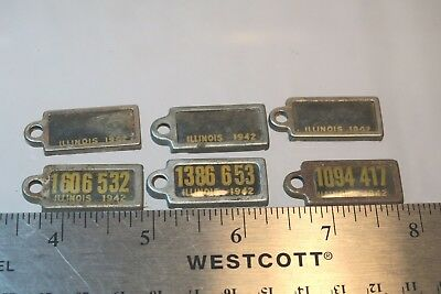6 DAV License Plate Keychain Tags 1942 Illinois #83 Disabled American Veterans