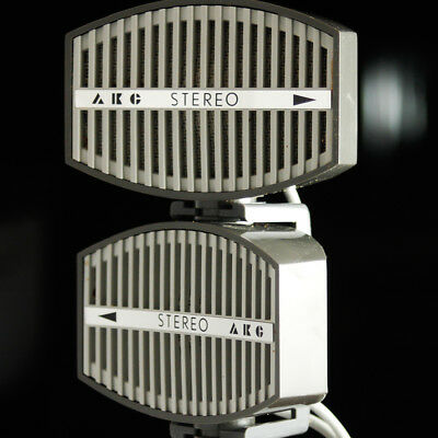 rare boxed AKG D66 STEREO MICROPHONE Pair Telefunken TD66 Uher M582 2-channel