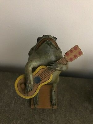 Taxidermy Vintage Musical Mexican Frog playing Guitar