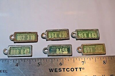 6 DAV License Plate Keychain Tags 1943 Illinois #82 Disabled American Veterans