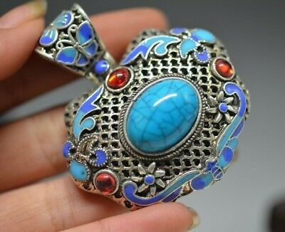 Exquisite Chinese hand-carved Cloisonne Blue Lapis  Pendant   a79