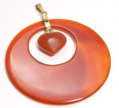 Vintage Chinese LARGE Hand Carved Carnelian Agate Heart Dangle Charm Pendant 2""