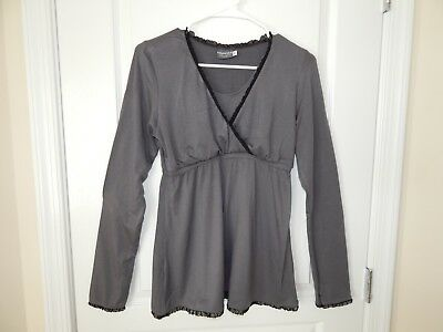 MAJAMAS Gray Black Lace Trim Pregnant Long Sleeve Maternity Nursing Top MEDIUM