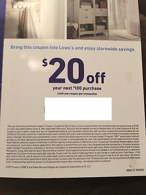 Lowe's $20 OFF 100 Purchase Coupon - Lowe's In store/online Fast Delivery
