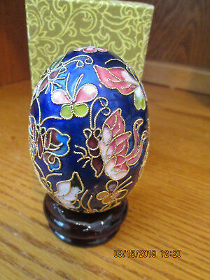 "Cloisonne Egg Enamel Figurine 3 1/4"" Tall  Blue Green  Gold  With Box & Stand"