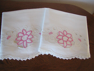 Vintage Pair Of Pillowcases Embroidered & Crocheted Open Work Cherry Blossoms