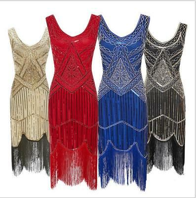 Ladies 1920s Roaring 20s Flapper Gatsby Costume Sequins Outfit Dress AU