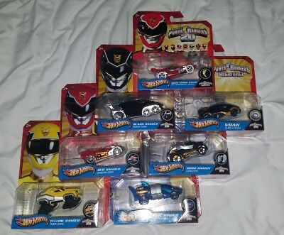 Mighty Morphin Power Rangers Hotwheels Red Yellow Black Vrak Robo Knight Blue