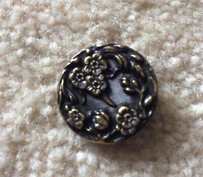 Stunning Antique French Floral PARIS Back Brass Button
