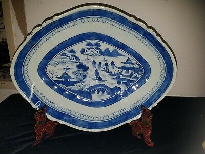 LARGE Antique 14in Chinese Export Canton PLATTER Plate, Circa 1850 Blue & white