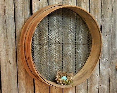 Antique Primitive Old Barn Tool Round Wood & Wire Farm Grain Sifter AAFA