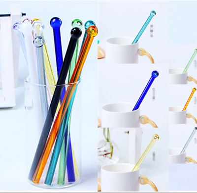 10x Reusable Glass Straws Club Colorful Pyrex Glass Drinking Straw Wedding Party
