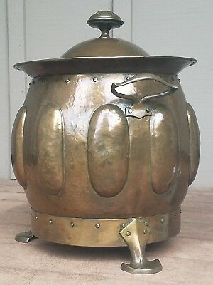 Antique Big Arts & Crafts Hammered Brass Coal Scuttle w/ Repousse' Stickley Era