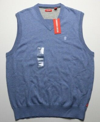 NEW Izod Mens V-neck Sweater Vest Size Medium Blue 100% Cotton