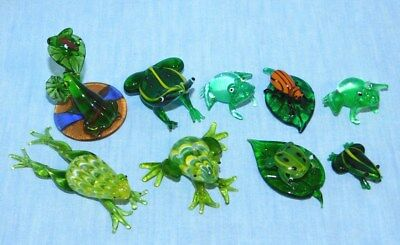 9 Small Glass Frog Figurines