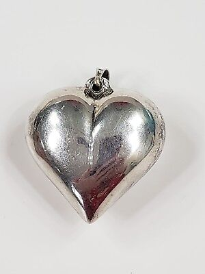 """Vintage Sterling Silver Puff Heart Pendant 1.5"""" T 6.7 g"""