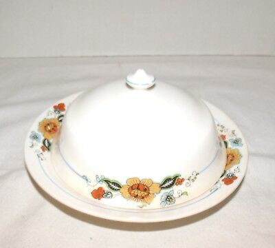 Art Deco Edwin M. Knowles Cream Colored Domed Butter Dish w/Floral Pattern On It