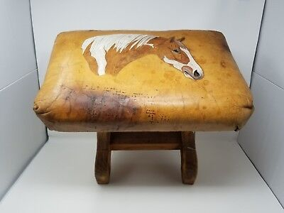 Vintage Hand Tooled Leather Foot Stool ~ Horse Head Design ~ Equestrian Western