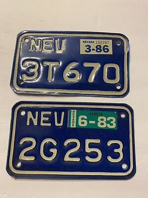 VINTAGE Pair 1983 1986 Nevada STATE MOTORCYCLE License PLATE Tag Tab Man Cave