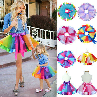 USA STOCK Kids Lovely Colorful Tutu Skirt Girls Rainbow Tulle Tutu Mini Dress