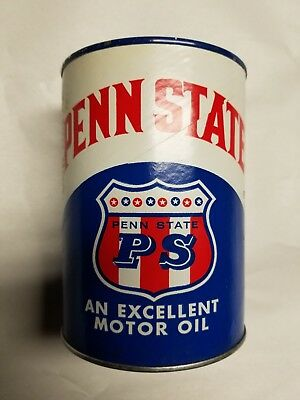 One Full U. S. Liquid Quart Cardboard Penn State Oil Can Man Cave