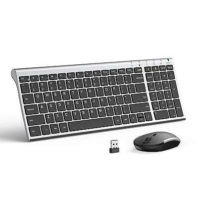 Wireless Keyboard Mouse Jelly Comb 2.4GHz Ultra Slim Compact Full Size Recharge
