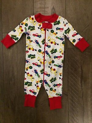 Hanna Andersson Baby Boy Pajamas Size 0-6 Months Tucks Red Cotton Zipper