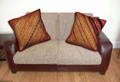 """16""""-2 Red Vintage Sari Décor Floor Hand Embroidered Throw Cushion Pillows Covers"""