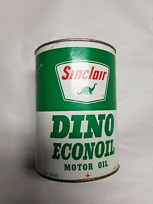 One U. S. Liquid Quart Cardboard Sinclair Dino Econoil Full Oil Can Man Cave