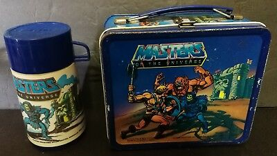 1983 Mattel Aladdin He-Man Masters Of The Universe Metal Lunchbox And Thermos