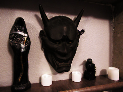 Antique Devil Mask Cast Iron Japanese Japan Hannya Hanya heavy demon noh