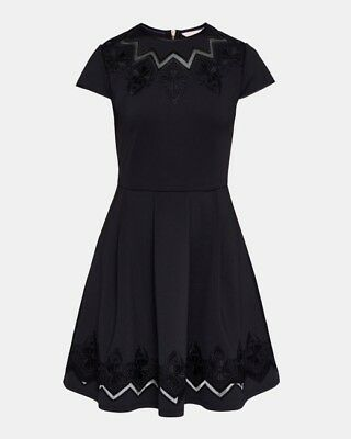 b3f6941639 Ted Baker London Cheskka Lace And Mesh Detail Skater Dress Black Size 0