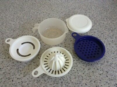 Tupperware All-in-One EZ Prep Mate Set (Juicer, Grater, Egg Separator) Pre-owned
