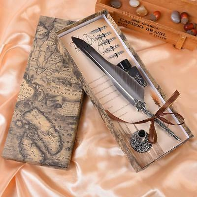 Feather Plus Metal Nibbed Pen Dip Writing Quill With Ink Steel Tips Gift-Box-Set